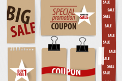 6 paper promotional banner vector