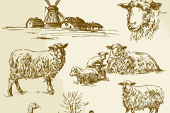 7 hand-painted farm and livestock vector