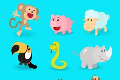 9 cartoon animals vector