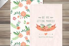 Cartoon vector flower wedding invitations