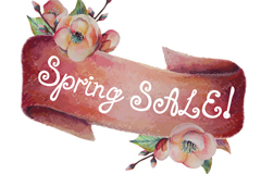 Retro Spring Flower sale ribbons vector graphics