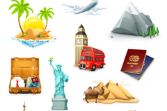 11 exquisite tourism icon vector