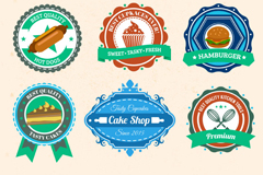 9 color food label vector
