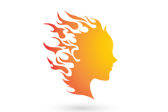 Flame girls head logo vector
