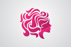 Woman's head logo business card vector