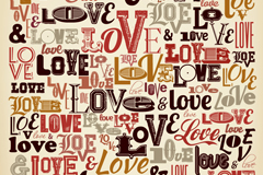 WordArt seamless love background vector