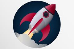 Cartoon rocket launch vector