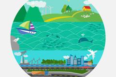 Cartoon round earth landscape vector