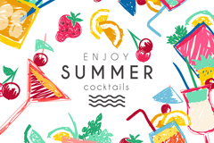Painting summer cocktail vector graphics