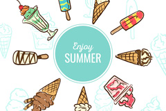 Painting summer ice-cream vector