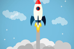 Rocket cartoon out of the clouds vector