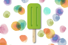 Watercolor dots background and ice-cream vector