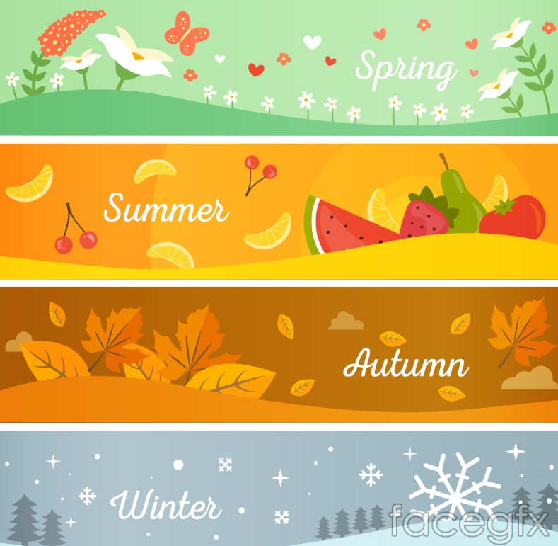 4 Seasons Banner Cartoon Vector Illustration