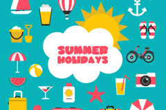 25 summer holiday elements vector