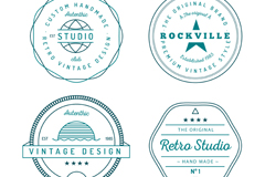 4 green artifact labels vector