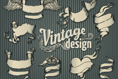 8 retro Ribbon banner vector