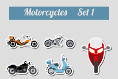 8 stylish motorcycle sticker vector