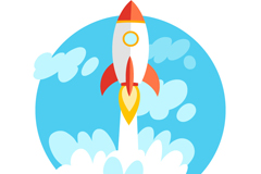 Cartoon rocket launch vector graphics