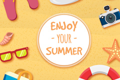 Creative summer beach vacation clip art vector