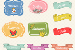 13 color seasons and date labels vector