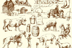 24 hand-painted farm element vector