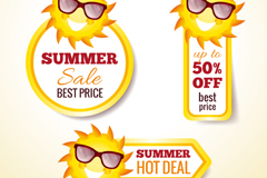3 summer discount tag vector