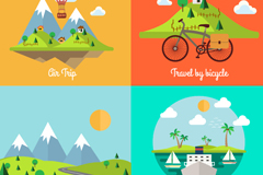 4 cartoon landscape design vector graph