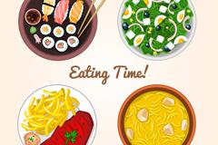 4 delicious meals vector