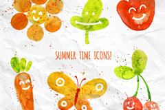 6 water painting summer elements vector