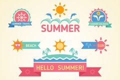 9 color summer tag vector