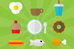 9 flat food icon vector