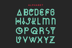 Cassiopeia art alphabet design vector
