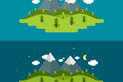Forest snow day and night Illustrator vector maps
