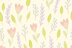 Leaves and flowers in watercolor seamless vector background illustration