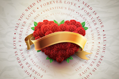 Love roses and ribbons vector