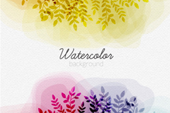 Symmetric watercolor tree vector background