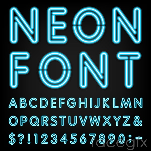 Blue Neon Letters Vector Free Download