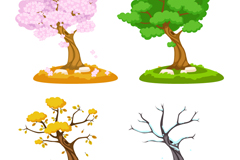 Seasons cartoon trees vector