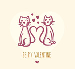 Loving couple hand-painted cat vector