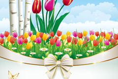 Color of Tulip flowers vector