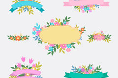 5 flower Ribbon vector