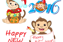 3 cute monkey new year vector