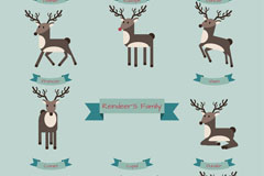 8 reindeer cartoon vector