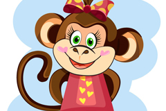 Dai Hudie knot of cute cartoon monkey vector