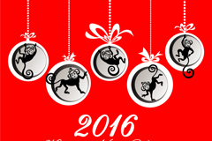 2016 monkey ornaments greeting card vector