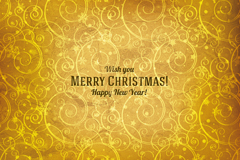 Golden pattern new year card vector