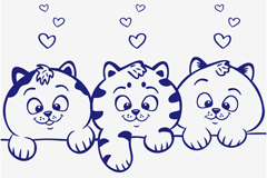 Three blue cute cat vector