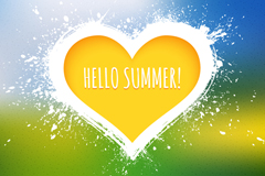 Creative yellow love Hello summer vector