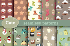 10 cute cartoon seamless vector background