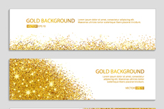 3 gold glitter and gold banner vector diagrams